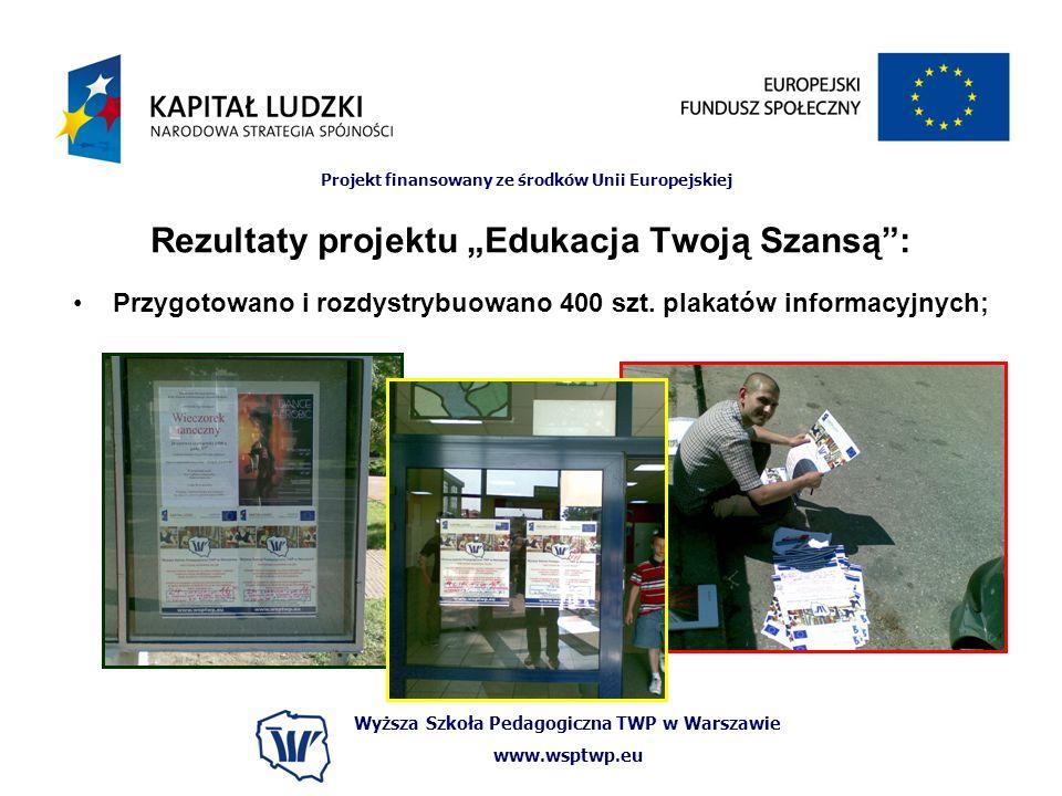 Wyższa Szkoła Pedagogiczna TWP w Warszawie www.wsptwp.eu Projekt finansowany ze środków Unii Europejskiej Rezultaty projektu Edukacja Twoją Szansą: Przygotowano i rozdystrybuowano 400 szt.