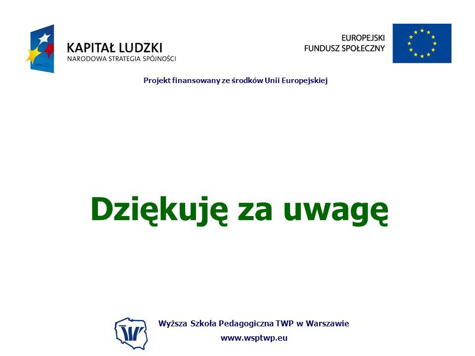 Wyższa Szkoła Pedagogiczna TWP w Warszawie www.wsptwp.eu Projekt finansowany ze środków Unii Europejskiej Dziękuję za uwagę