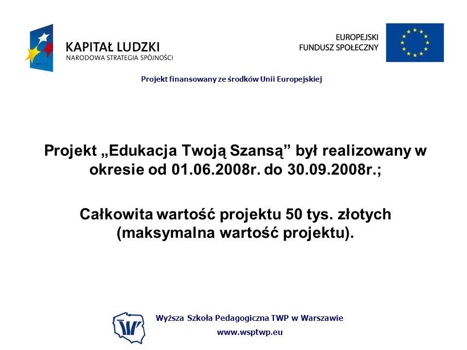 Wyższa Szkoła Pedagogiczna TWP w Warszawie www.wsptwp.eu Projekt finansowany ze środków Unii Europejskiej Projekt Edukacja Twoją Szansą był realizowany w okresie od 01.06.2008r.