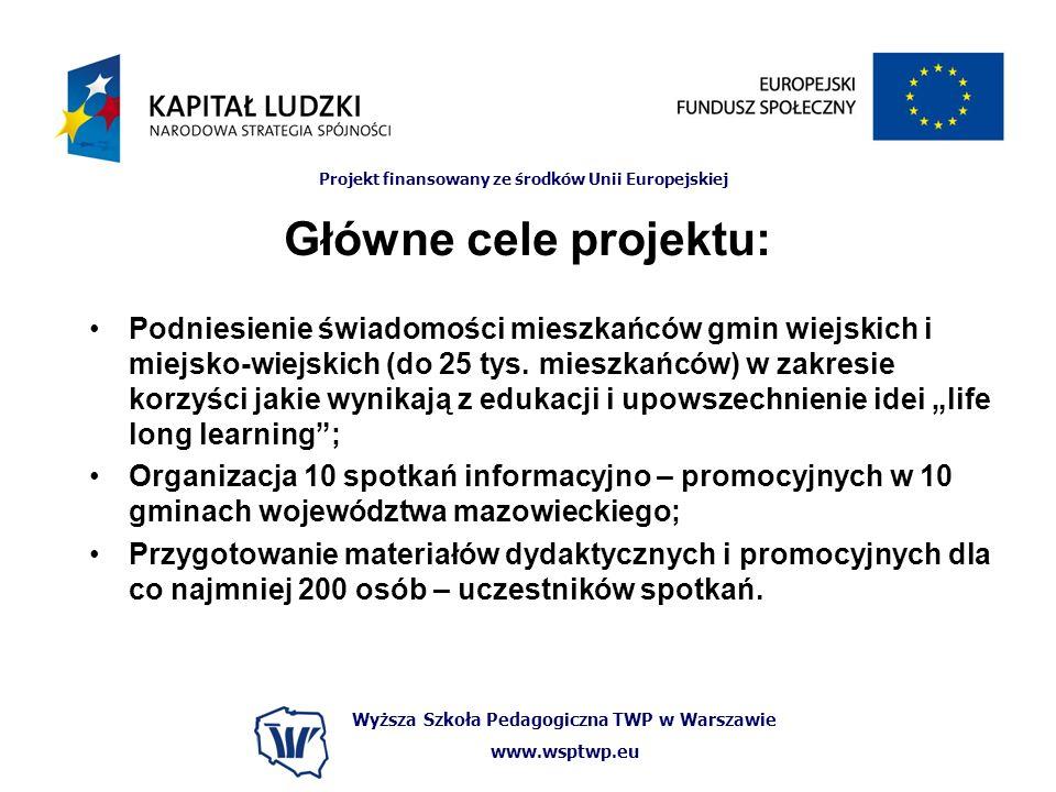 Wyższa Szkoła Pedagogiczna TWP w Warszawie www.wsptwp.eu Projekt finansowany ze środków Unii Europejskiej Główne cele projektu: Podniesienie świadomości mieszkańców gmin wiejskich i miejsko-wiejskich (do 25 tys.