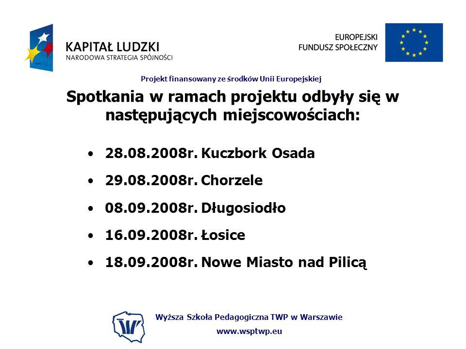 Wyższa Szkoła Pedagogiczna TWP w Warszawie www.wsptwp.eu Projekt finansowany ze środków Unii Europejskiej Spotkania w ramach projektu odbyły się w następujących miejscowościach: 28.08.2008r.