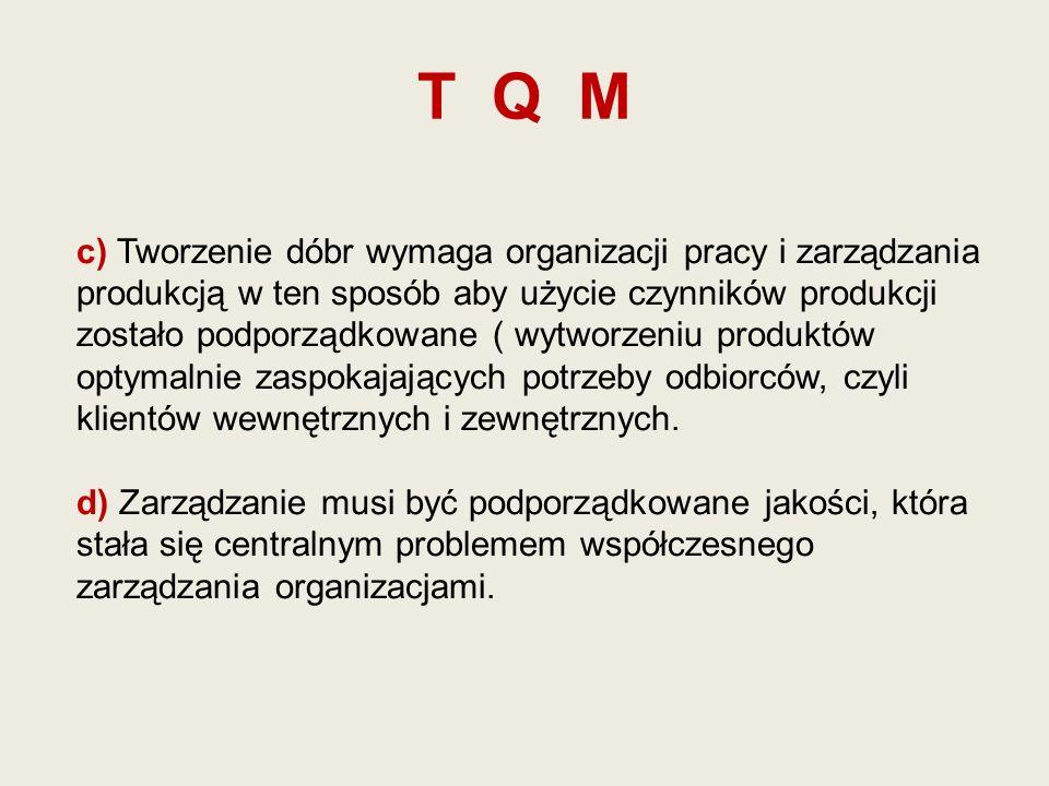 T Q M c) Tworzenie dóbr wymaga organizacji pracy i zarządzania produkcją w ten sposób aby użycie czynników produkcji zostało podporządkowane ( wytworz