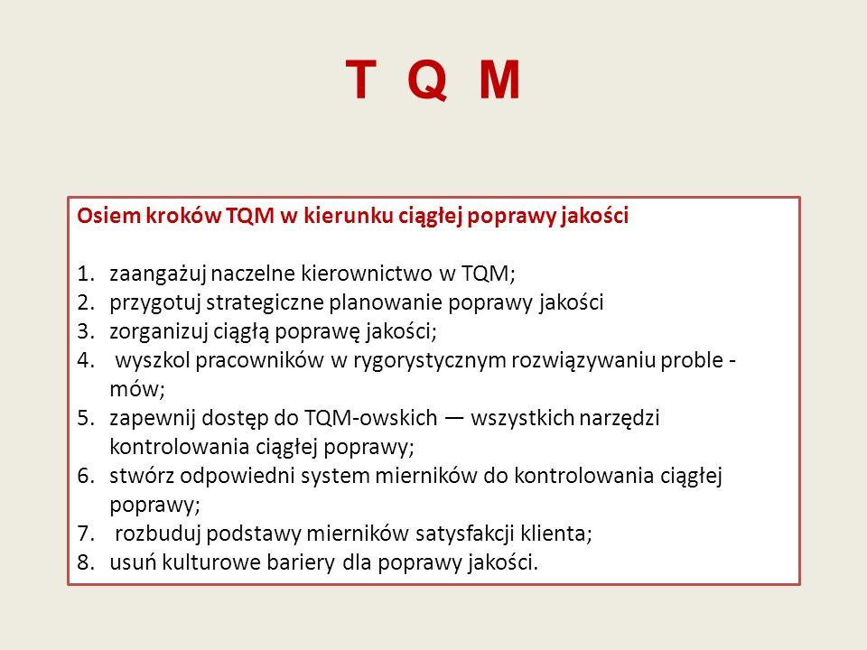 T Q M Osiem kroków TQM w kierunku ciągłej poprawy jakości 1.zaangażuj naczelne kierownictwo w TQM; 2.przygotuj strategiczne planowanie poprawy jakości