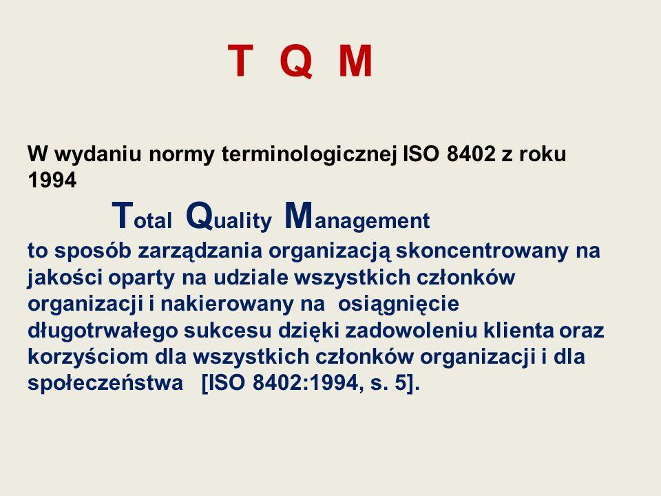 T Q M W wydaniu normy terminologicznej ISO 8402 z roku 1994 T otal Q uality M anagement to sposób zarządzania organizacją skoncentrowany na jakości op