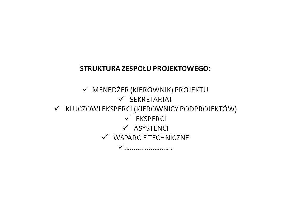 STRUKTURA ZESPOŁU PROJEKTOWEGO: MENEDŻER (KIEROWNIK) PROJEKTU SEKRETARIAT KLUCZOWI EKSPERCI (KIEROWNICY PODPROJEKTÓW) EKSPERCI ASYSTENCI WSPARCIE TECH