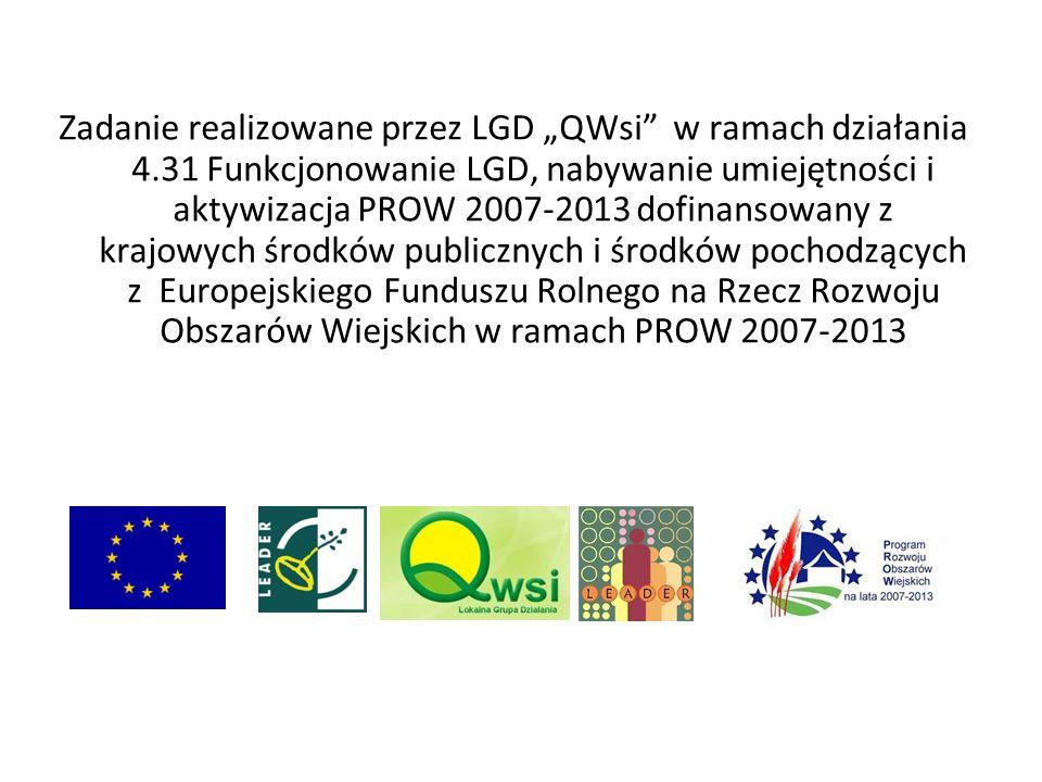 Zadanie realizowane przez LGD QWsi w ramach działania 4.31 Funkcjonowanie LGD, nabywanie umiejętności i aktywizacja PROW 2007-2013 dofinansowany z kra
