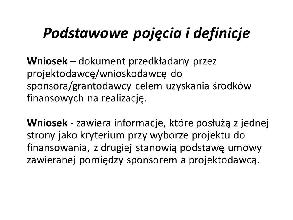 Podstawowe pojęcia i definicje Wniosek – dokument przedkładany przez projektodawcę/wnioskodawcę do sponsora/grantodawcy celem uzyskania środków finans