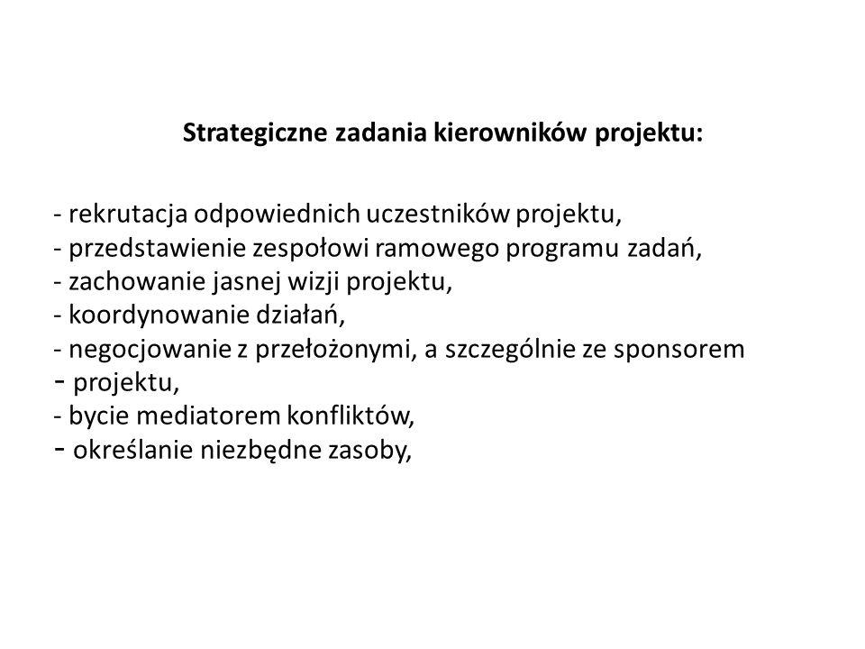 Strategiczne zadania kierowników projektu: - rekrutacja odpowiednich uczestników projektu, - przedstawienie zespołowi ramowego programu zadań, - zacho