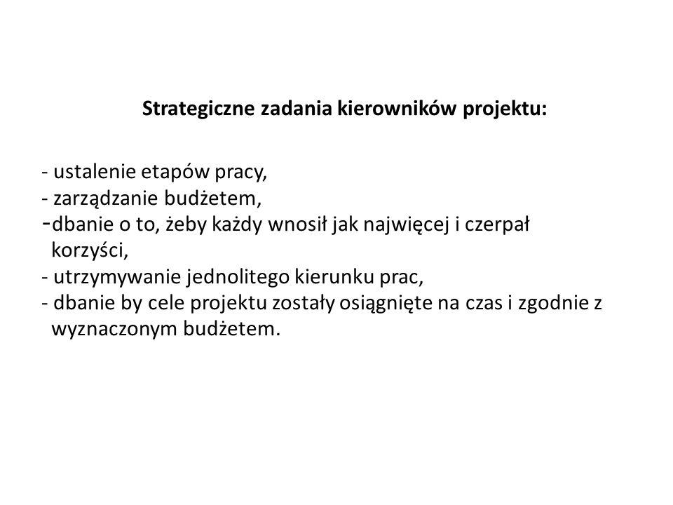 Strategiczne zadania kierowników projektu: - ustalenie etapów pracy, - zarządzanie budżetem, - dbanie o to, żeby każdy wnosił jak najwięcej i czerpał