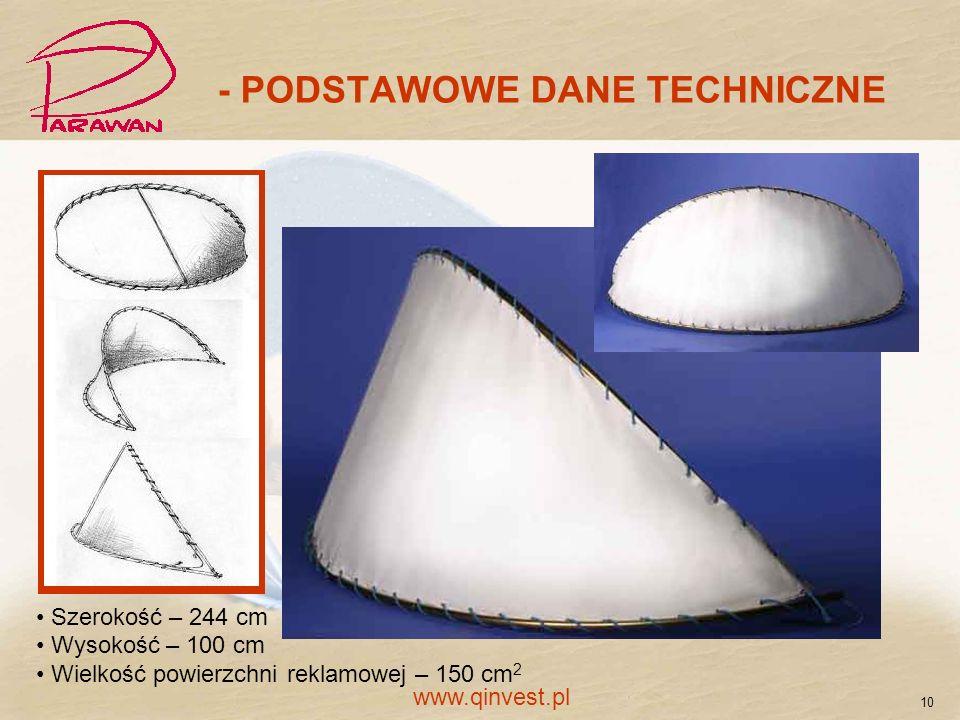 - PODSTAWOWE DANE TECHNICZNE Szerokość – 244 cm Wysokość – 100 cm Wielkość powierzchni reklamowej – 150 cm 2 10 www.qinvest.pl