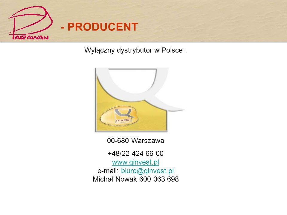 Wyłączny dystrybutor w Polsce : Biuro handlowe: Warszawa Ul.Poznańska 11/8A 00-680 Warszawa +48/22 424 66 00 www.qinvest.pl e-mail: biuro@qinvest.pl M