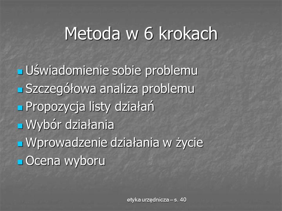 etyka urzędnicza – s. 40 Metoda w 6 krokach Uświadomienie sobie problemu Uświadomienie sobie problemu Szczegółowa analiza problemu Szczegółowa analiza