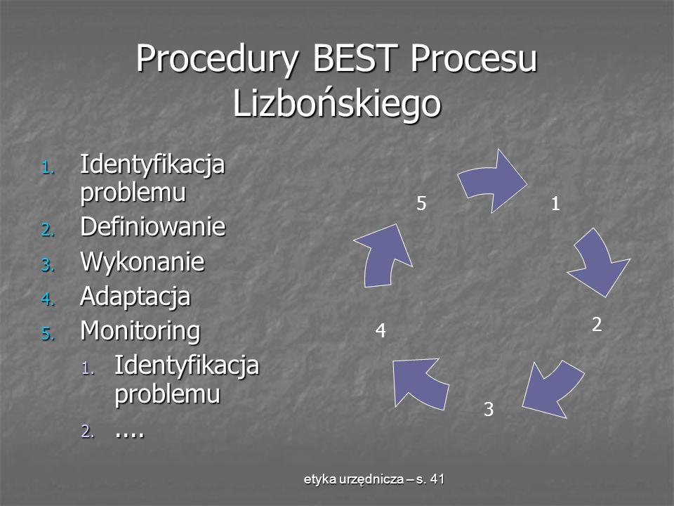 etyka urzędnicza – s. 41 Procedury BEST Procesu Lizbońskiego 1. Identyfikacja problemu 2. Definiowanie 3. Wykonanie 4. Adaptacja 5. Monitoring 1. Iden