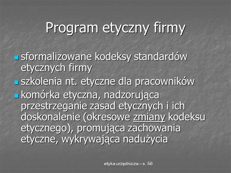 etyka urzędnicza – s. 56 Program etyczny firmy sformalizowane kodeksy standardów etycznych firmy sformalizowane kodeksy standardów etycznych firmy szk