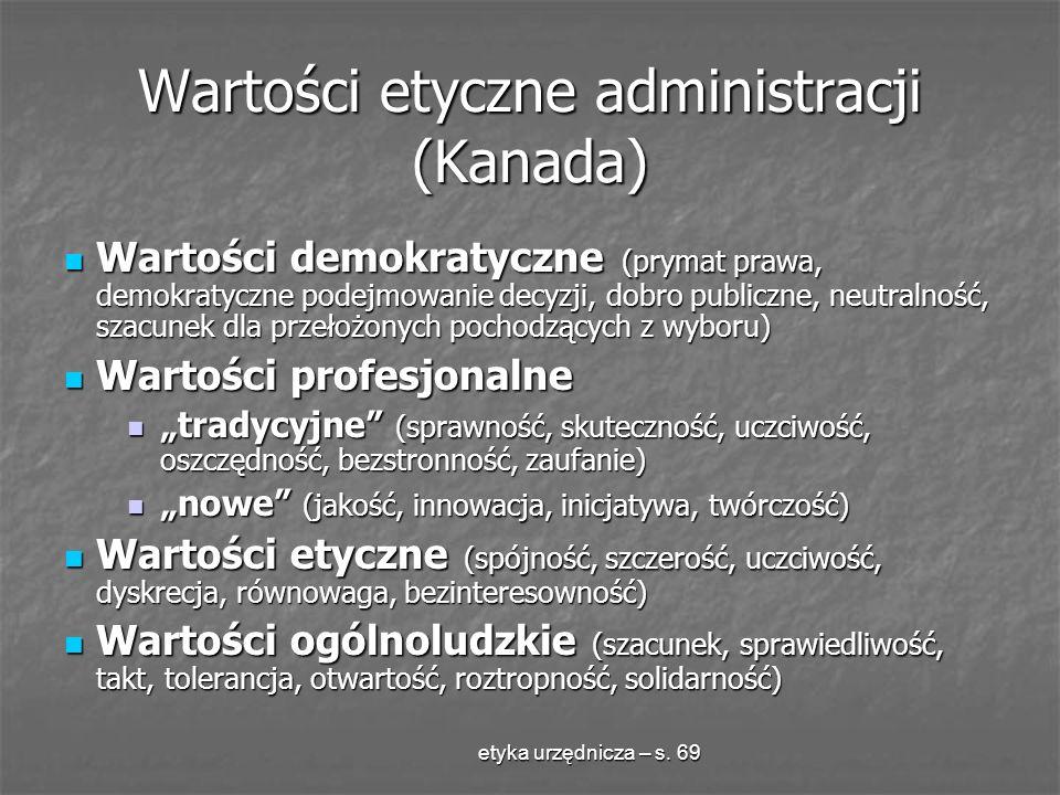 etyka urzędnicza – s. 69 Wartości etyczne administracji (Kanada) Wartości demokratyczne (prymat prawa, demokratyczne podejmowanie decyzji, dobro publi
