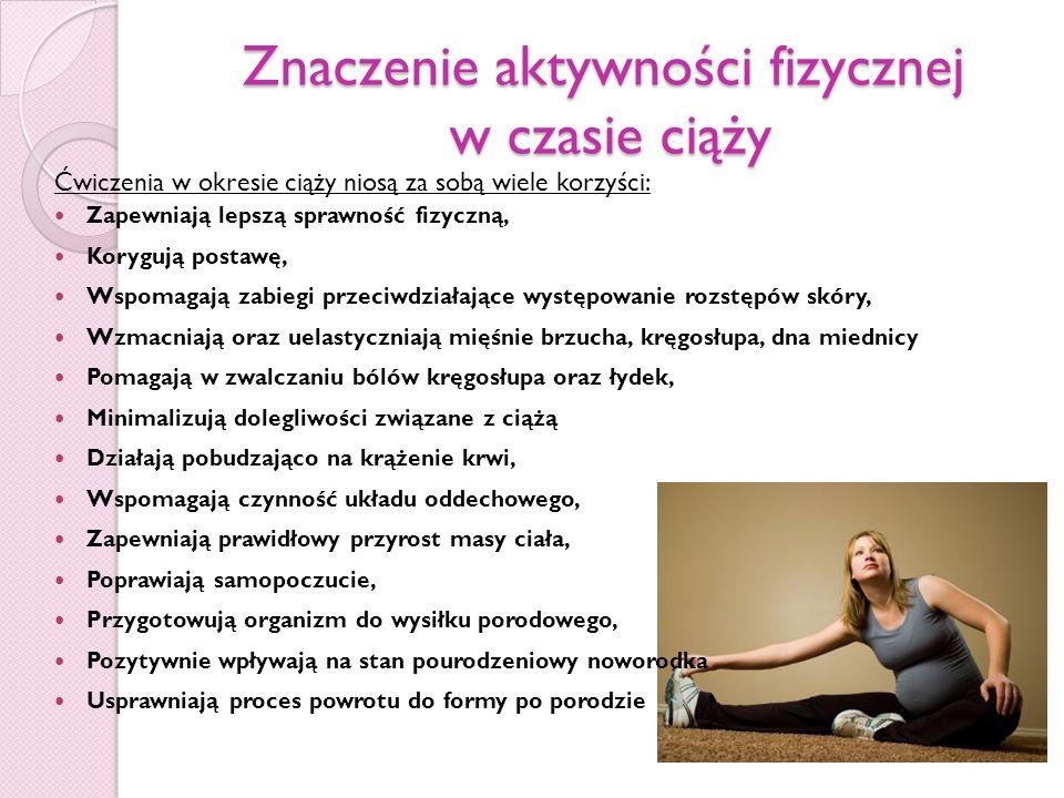 Znaczenie aktywności fizycznej w czasie ciąży Ćwiczenia w okresie ciąży niosą za sobą wiele korzyści: Zapewniają lepszą sprawność fizyczną, Korygują p