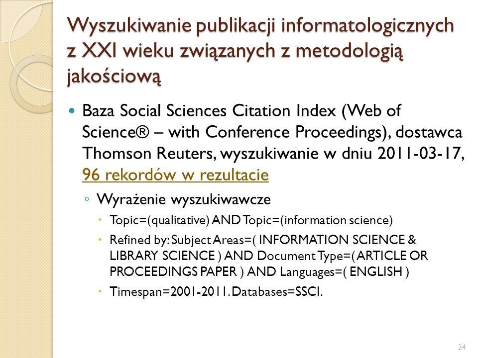Wyszukiwanie publikacji informatologicznych z XXI wieku związanych z metodologią jakościową Baza Social Sciences Citation Index (Web of Science® – wit