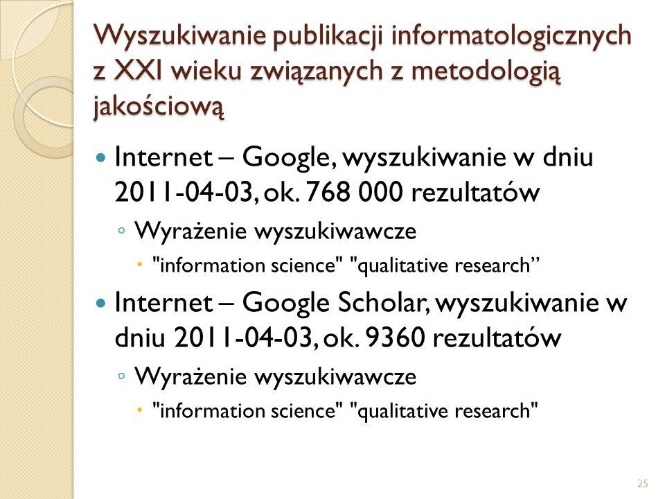 Wyszukiwanie publikacji informatologicznych z XXI wieku związanych z metodologią jakościową Internet – Google, wyszukiwanie w dniu 2011-04-03, ok. 768