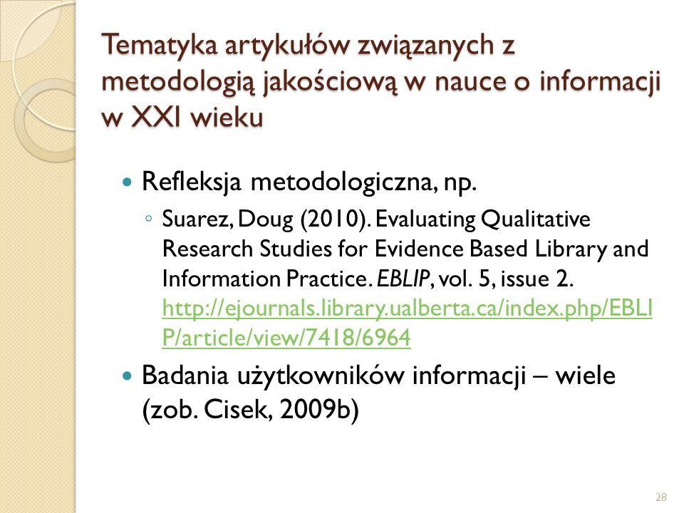 Tematyka artykułów związanych z metodologią jakościową w nauce o informacji w XXI wieku Refleksja metodologiczna, np. Suarez, Doug (2010). Evaluating