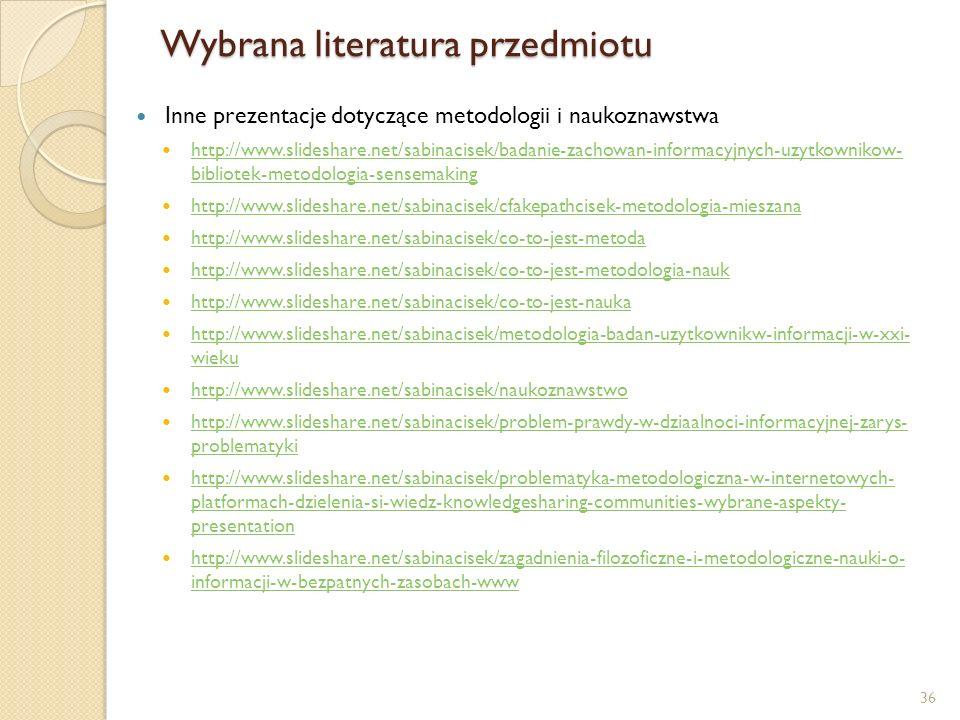 Wybrana literatura przedmiotu Inne prezentacje dotyczące metodologii i naukoznawstwa http://www.slideshare.net/sabinacisek/badanie-zachowan-informacyj