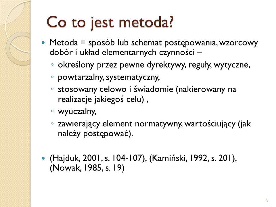 Co to jest metoda? Metoda = sposób lub schemat postępowania, wzorcowy dobór i układ elementarnych czynności – określony przez pewne dyrektywy, reguły,