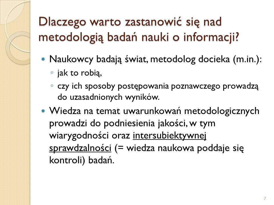 Dlaczego warto zastanowić się nad metodologią badań nauki o informacji? Naukowcy badają świat, metodolog docieka (m.in.): jak to robią, czy ich sposob