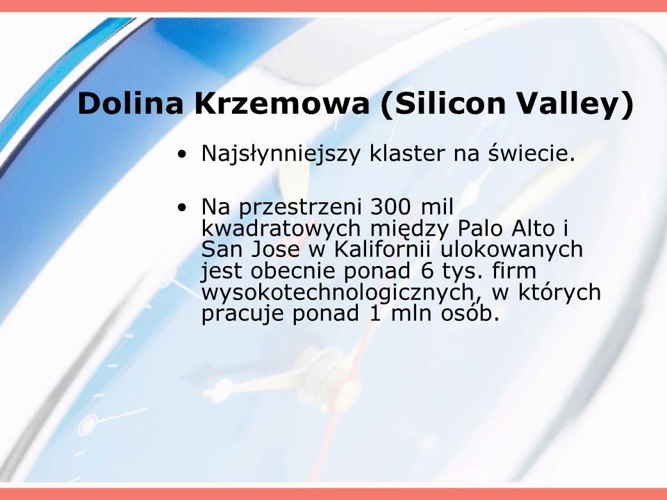 Dolina Krzemowa (Silicon Valley) Najsłynniejszy klaster na świecie. Na przestrzeni 300 mil kwadratowych między Palo Alto i San Jose w Kalifornii uloko