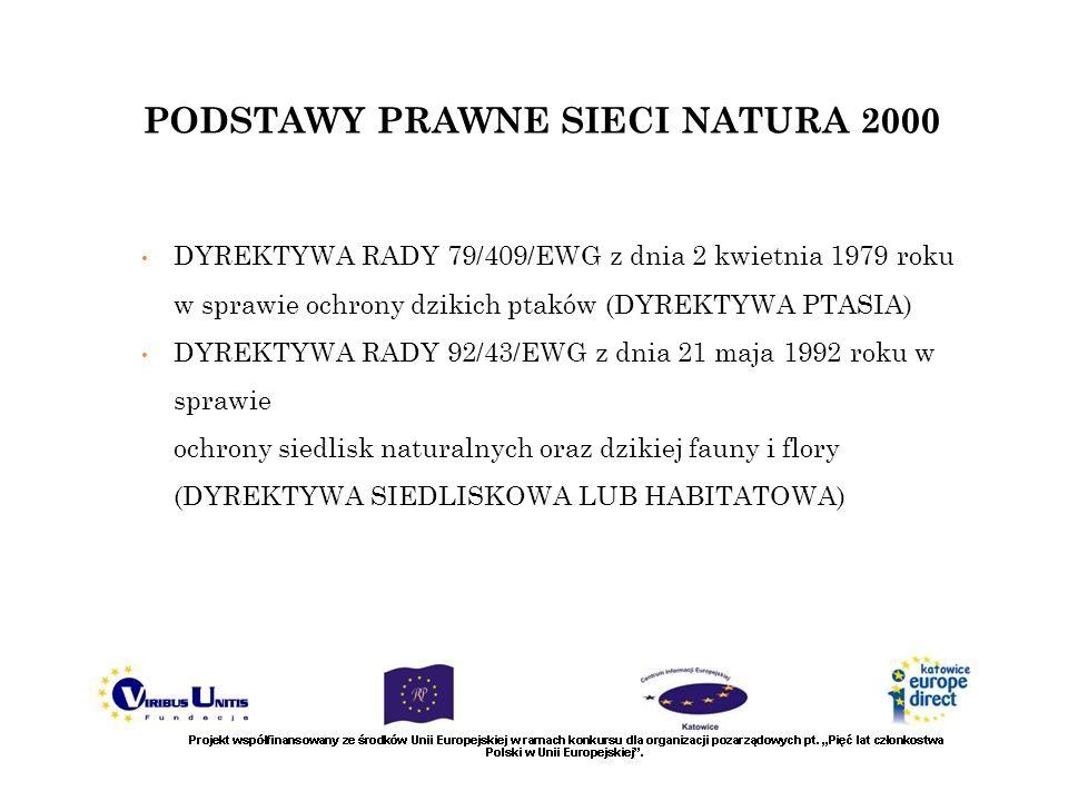 PODSTAWY PRAWNE SIECI NATURA 2000 DYREKTYWA RADY 79/409/EWG z dnia 2 kwietnia 1979 roku w sprawie ochrony dzikich ptaków (DYREKTYWA PTASIA) DYREKTYWA