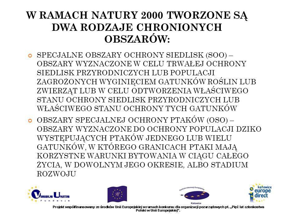 W RAMACH NATURY 2000 TWORZONE SĄ DWA RODZAJE CHRONIONYCH OBSZARÓW: SPECJALNE OBSZARY OCHRONY SIEDLISK (SOO) – OBSZARY WYZNACZONE W CELU TRWAŁEJ OCHRON