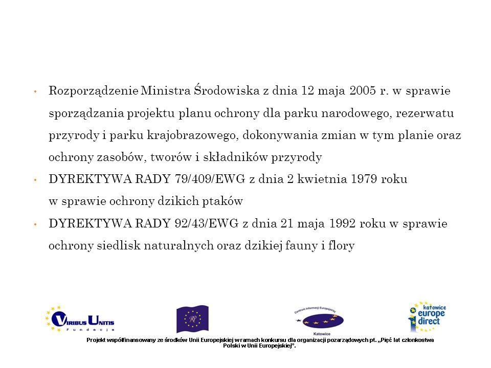 Rozporządzenie Ministra Środowiska z dnia 12 maja 2005 r. w sprawie sporządzania projektu planu ochrony dla parku narodowego, rezerwatu przyrody i par