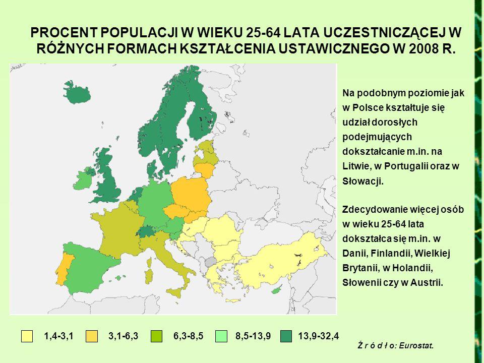 PROCENT POPULACJI W WIEKU 25-64 LATA UCZESTNICZĄCEJ W RÓŻNYCH FORMACH KSZTAŁCENIA USTAWICZNEGO W 2008 R. Ź r ó d ł o: Eurostat. 1,4-3,13,1-6,36,3-8,51