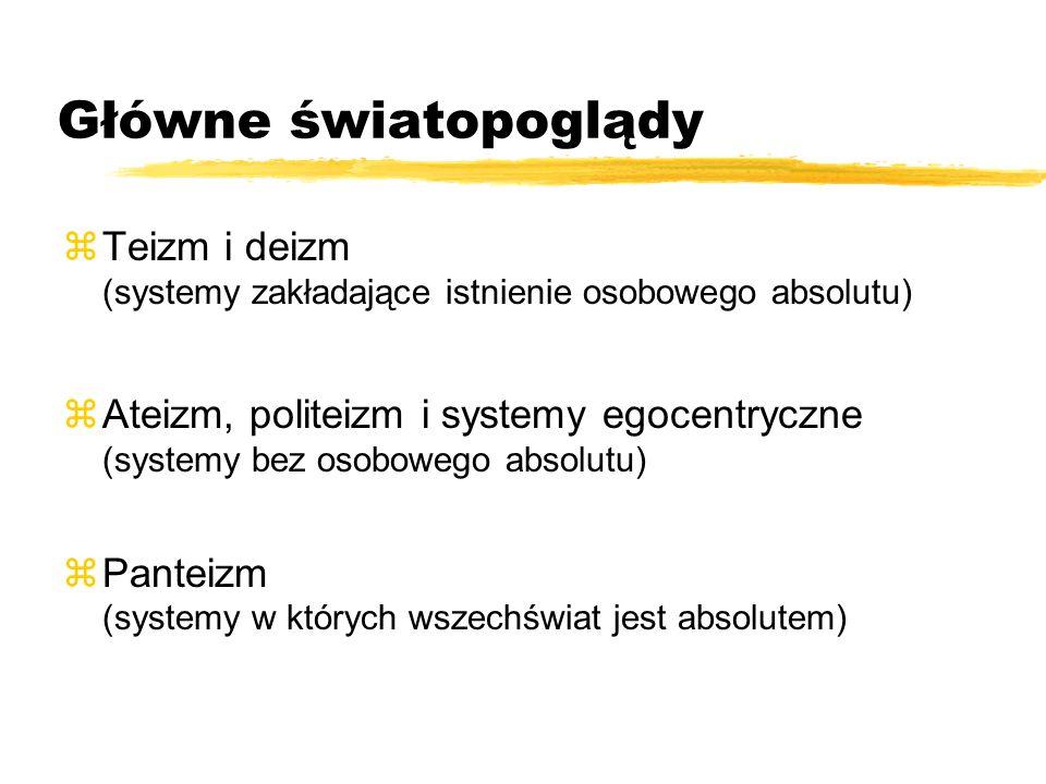 Główne światopoglądy zTeizm i deizm (systemy zakładające istnienie osobowego absolutu) zAteizm, politeizm i systemy egocentryczne (systemy bez osobowe
