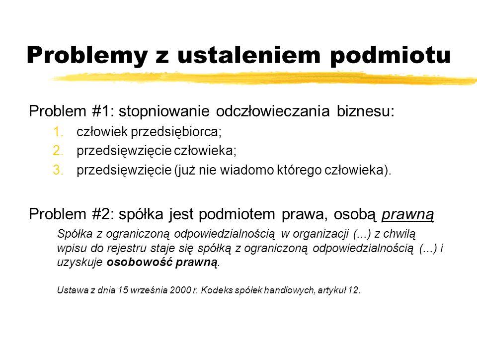 Problemy z ustaleniem podmiotu Problem #1: stopniowanie odczłowieczania biznesu: 1.człowiek przedsiębiorca; 2.przedsięwzięcie człowieka; 3.przedsięwzi
