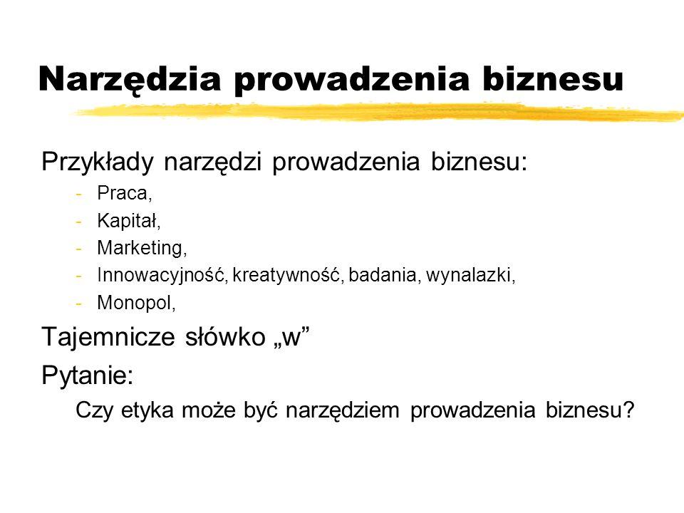 Narzędzia prowadzenia biznesu Przykłady narzędzi prowadzenia biznesu: -Praca, -Kapitał, -Marketing, -Innowacyjność, kreatywność, badania, wynalazki, -