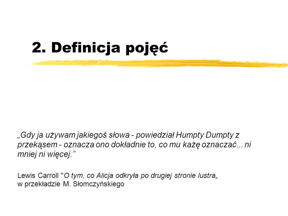 2. Definicja pojęć Gdy ja używam jakiegoś słowa - powiedział Humpty Dumpty z przekąsem - oznacza ono dokładnie to, co mu każę oznaczać... ni mniej ni
