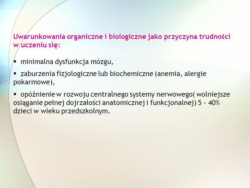 Uwarunkowania organiczne i biologiczne jako przyczyna trudności w uczeniu się: minimalna dysfunkcja mózgu, zaburzenia fizjologiczne lub biochemiczne (