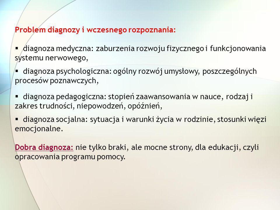 Problem diagnozy i wczesnego rozpoznania: diagnoza medyczna: zaburzenia rozwoju fizycznego i funkcjonowania systemu nerwowego, diagnoza psychologiczna