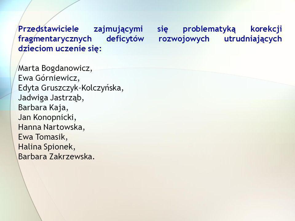 Przedstawiciele zajmującymi się problematyką korekcji fragmentarycznych deficytów rozwojowych utrudniających dzieciom uczenie się: Marta Bogdanowicz,