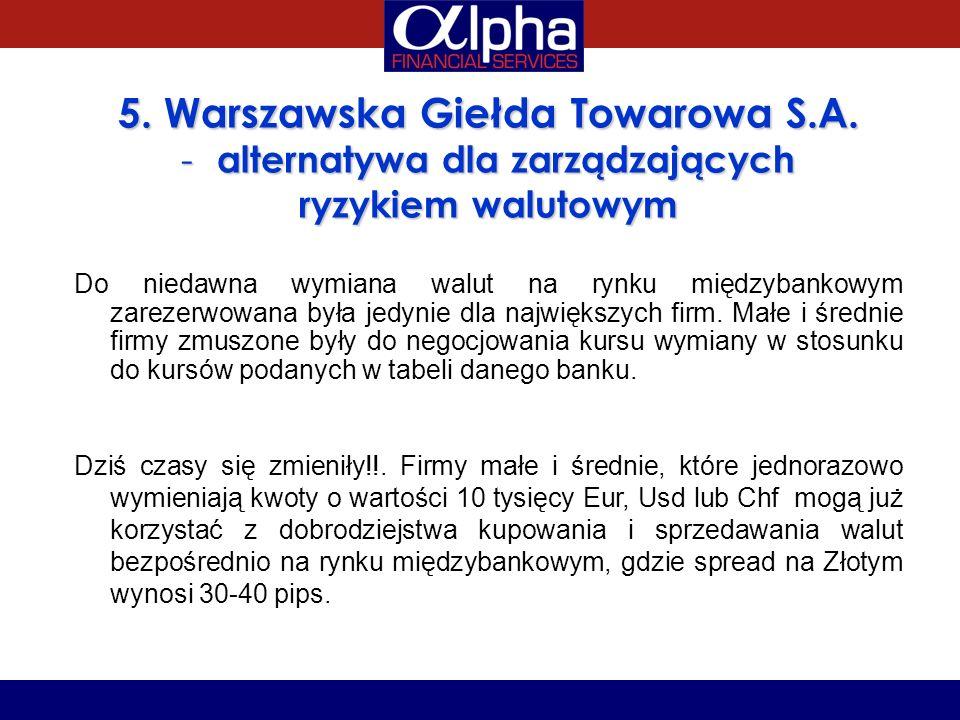 5. Warszawska Giełda Towarowa S.A. - alternatywa dla zarządzających ryzykiem walutowym Do niedawna wymiana walut na rynku międzybankowym zarezerwowana