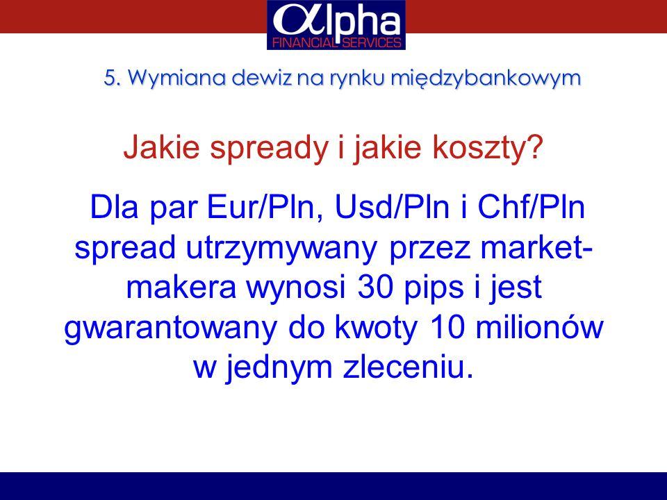 5. Wymiana dewiz na rynku międzybankowym Jakie spready i jakie koszty? Dla par Eur/Pln, Usd/Pln i Chf/Pln spread utrzymywany przez market- makera wyno