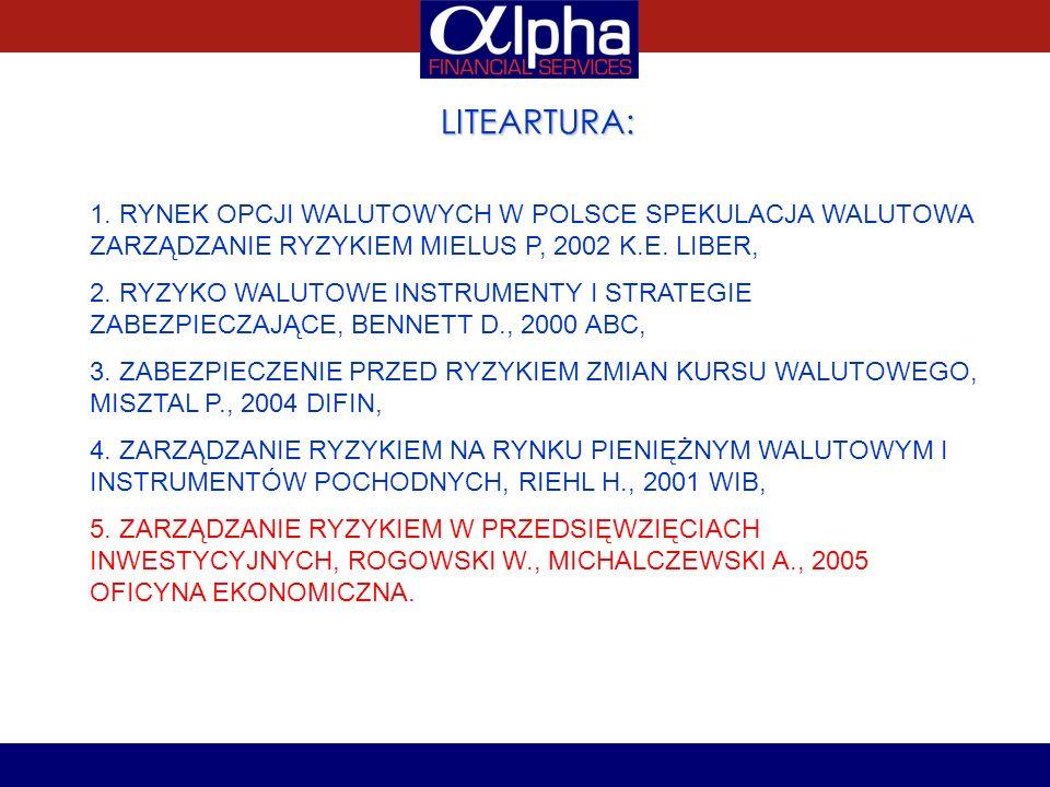LITEARTURA: 1. RYNEK OPCJI WALUTOWYCH W POLSCE SPEKULACJA WALUTOWA ZARZĄDZANIE RYZYKIEM MIELUS P, 2002 K.E. LIBER, 2. RYZYKO WALUTOWE INSTRUMENTY I ST