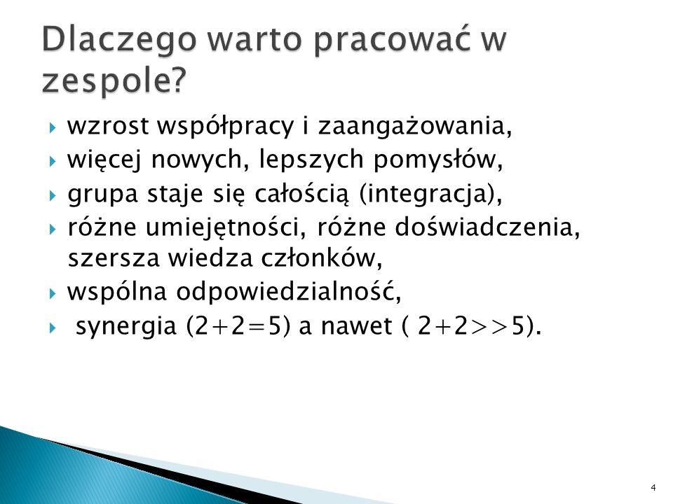 Wyznaczanie celów pracy Podział kompetencji Ustalenie zasad pracy 5