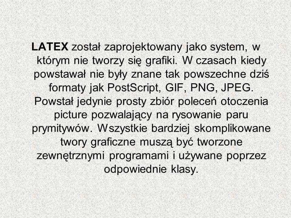 LATEX został zaprojektowany jako system, w którym nie tworzy się grafiki. W czasach kiedy powstawał nie były znane tak powszechne dziś formaty jak Pos