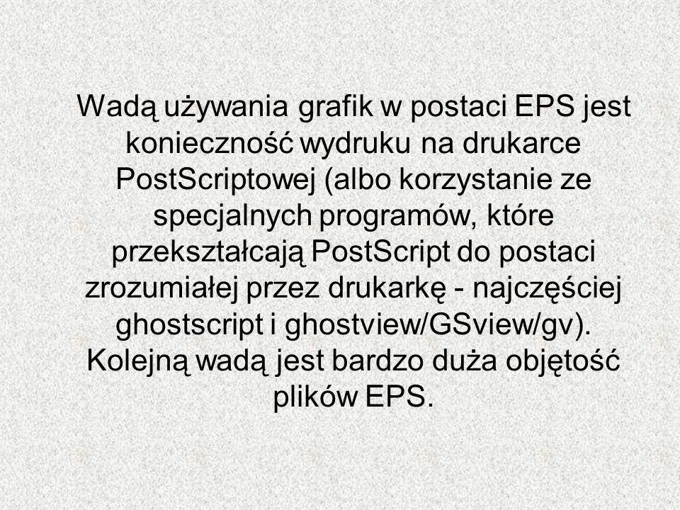Wadą używania grafik w postaci EPS jest konieczność wydruku na drukarce PostScriptowej (albo korzystanie ze specjalnych programów, które przekształcaj