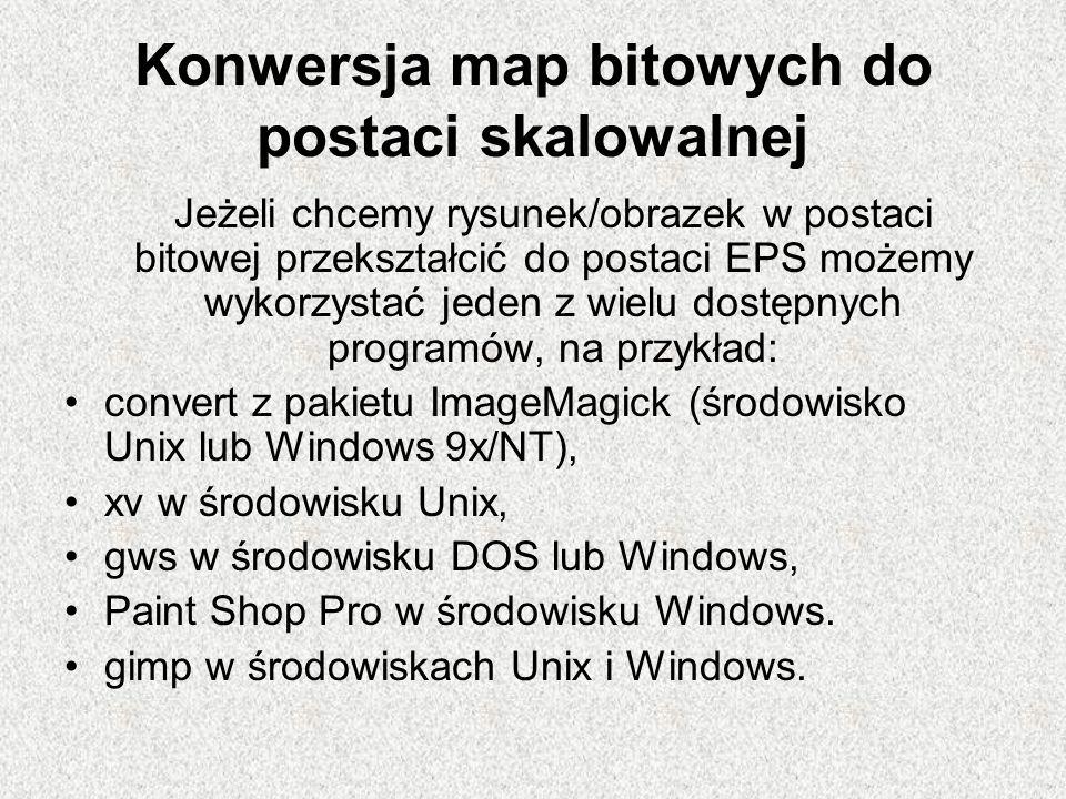 Konwersja map bitowych do postaci skalowalnej Jeżeli chcemy rysunek/obrazek w postaci bitowej przekształcić do postaci EPS możemy wykorzystać jeden z