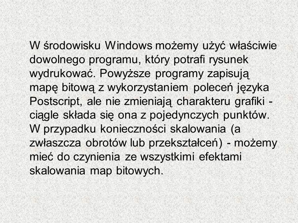 W środowisku Windows możemy użyć właściwie dowolnego programu, który potrafi rysunek wydrukować. Powyższe programy zapisują mapę bitową z wykorzystani