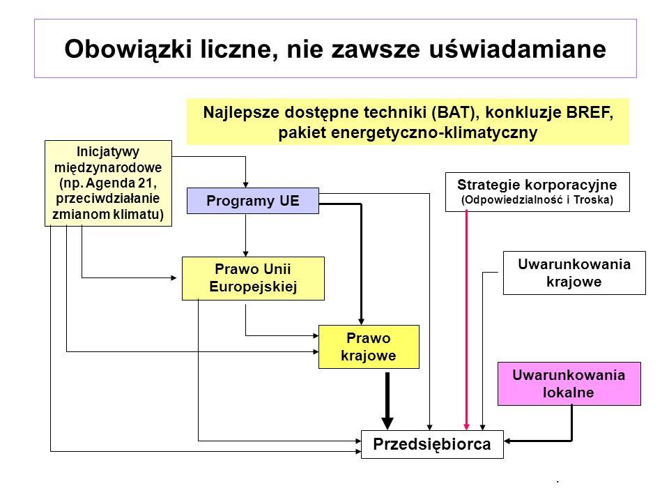 Źródła obowiązków z zakresu ochrony środowiska Przepisy prawne, –prawo krajowe, –prawo Unii Europejskiej (uwaga na rozporządzenia, bo obowiązują bezpośrednio o w całości w całej Unii Europejskiej), w tym BREF (?) Strategie, polityki, programy, plany: –programy ochrony środowiska + Polityka Ekologiczna Państwa (wszystkie szczeble zarządzania państwem), –plany gospodarki odpadami (wszystkie szczeble zarządzania państwem), –programy ochrony powietrza (dotyczą stref, ustala wojewoda), –Plany gospodarowania wodami dorzeczy –miejscowe plany zagospodarowania przestrzennego, Oczekiwania społeczności lokalnej (OOS), Konkurencja (walka o klienta, dobór partnerów do współpracy, strategia marketingowa itd.) Chęć bycia lepszym od innych.