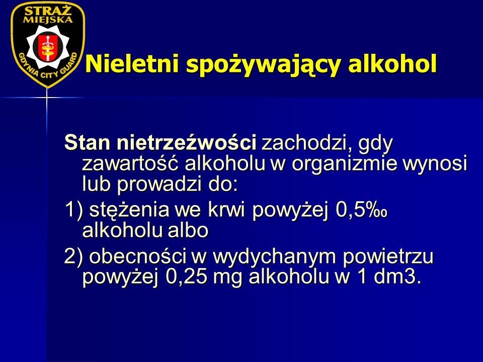 Nieletni spożywający alkohol Stan nietrzeźwości zachodzi, gdy zawartość alkoholu w organizmie wynosi lub prowadzi do: 1) stężenia we krwi powyżej 0,5