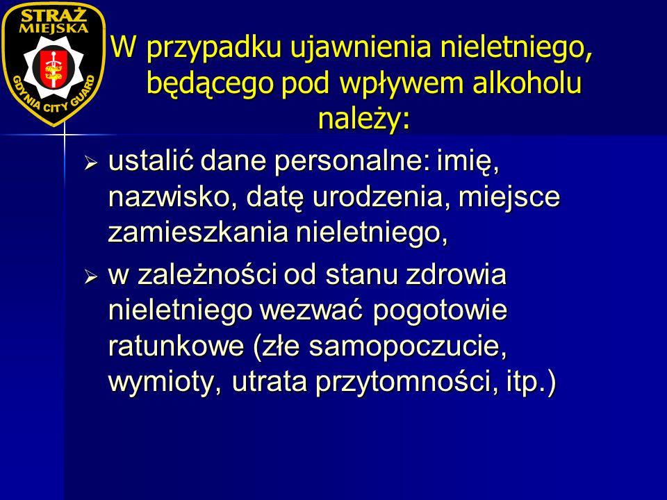 W przypadku ujawnienia nieletniego, będącego pod wpływem alkoholu należy: ustalić dane personalne: imię, nazwisko, datę urodzenia, miejsce zamieszkani