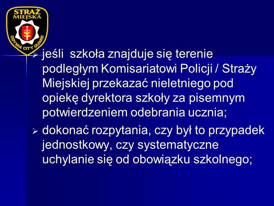 jeśli szkoła znajduje się terenie podległym Komisariatowi Policji / Straży Miejskiej przekazać nieletniego pod opiekę dyrektora szkoły za pisemnym pot